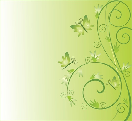 Whimsical abstract green background with butterflies