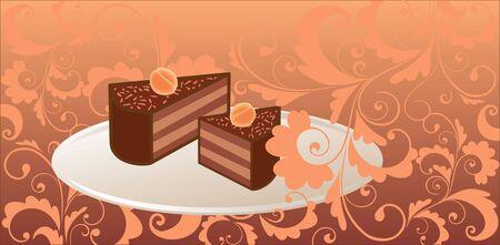 fruitcake: Card with fruitcake illustration
