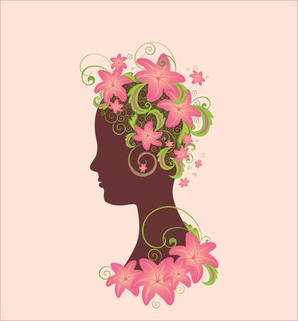 stylish woman: Woman profile with flowers illustration