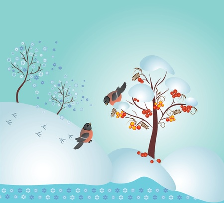 snowdrift: Winter forest, vector illustration. See my gallery for more Illustration