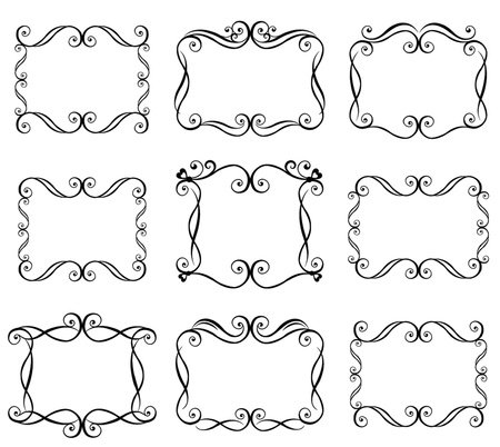 scroll border: Black curled frames collection