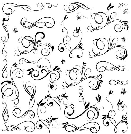 wed: Set of floral design elements