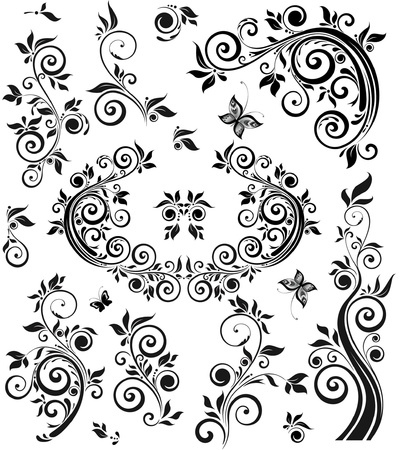 Vintage floral black design Vector