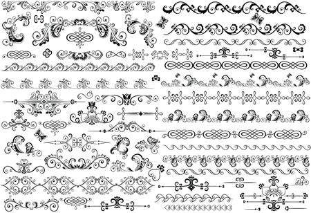 scroll shape: Decorative border and design elements Illustration