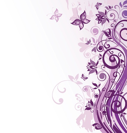purple butterfly: Floral vintage background