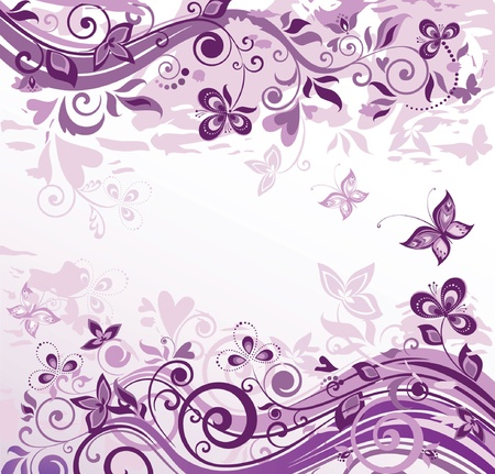 purple lilac: Greeting floral card