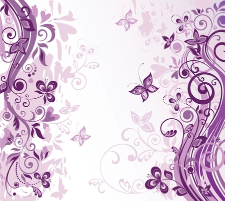 purple butterfly: Greeting floral violet card Illustration