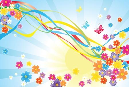 Rainbow and flowers Vector