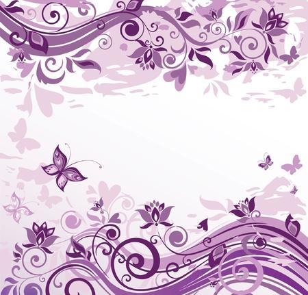Vintage floral violet card Vector