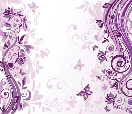 animal border: Vintage violet floral card