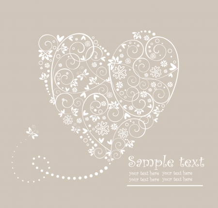Wedding pastel card with heart Vector