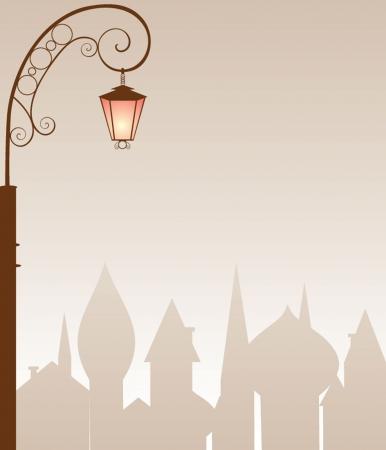 lighting column: Evening town