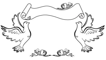 Marco vintage con paloma Ilustración de vector