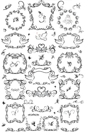 butterfly  angel: Set of vintage frame and design element