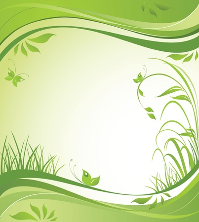 green leaves border: Spring background