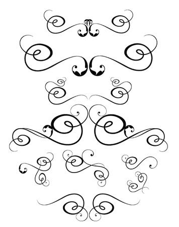 scroll work: Vintage black elements Illustration
