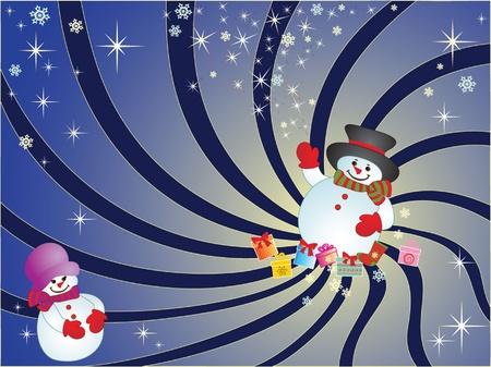 Xmas card with snowman Stock Vector - 18972715