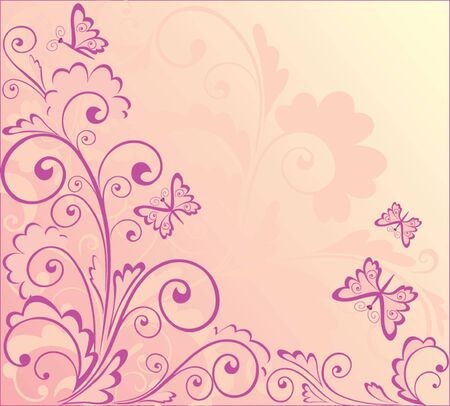 rose butterfly: Abstract pink background