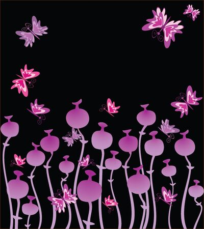 naive: Background with whimsical flower and butterflies Illustration