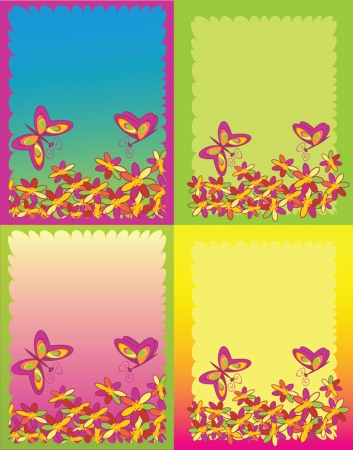 Set card with butterflies Vector