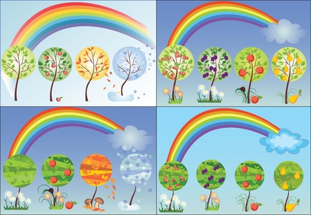 Set of seasonal tree Vector