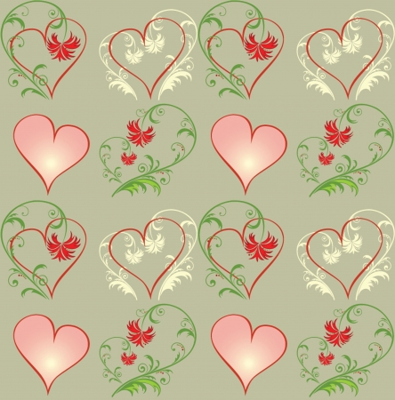 ornate swirls: Seamless pattern with hearts  See my gallery for more