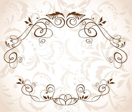 wed: Floral wedding frame Illustration