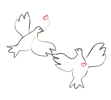 Loving couple of doves Vector