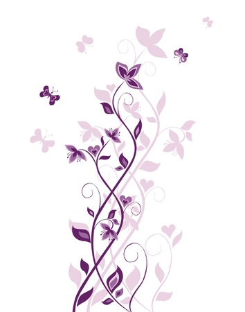 purple butterfly: Vintage violet tree