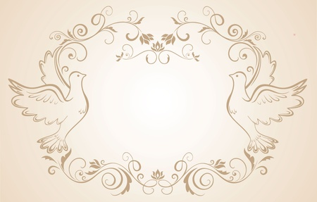 christian marriage: Wedding frame with doves Illustration