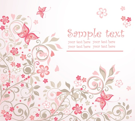 wish of happy holidays: Beautiful floral card