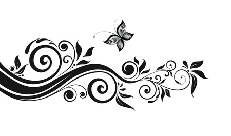 butterfly tree: Floral black border