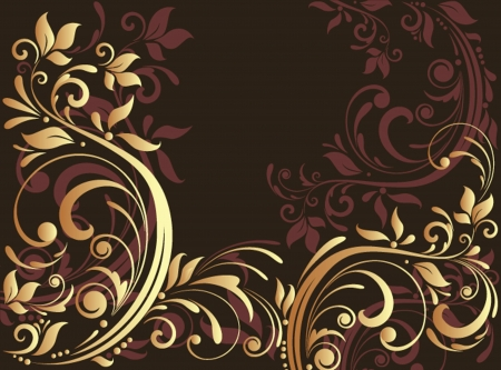 Floral gold card Vector