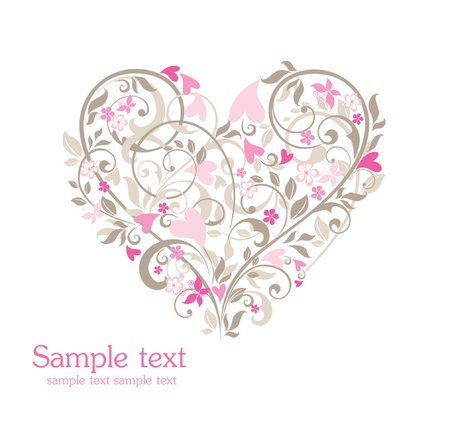 Cute floral heart Vector