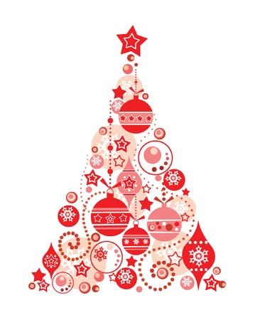 christmas bulbs: Red christmas tree