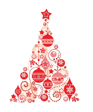 fir tree balls: Red christmas tree