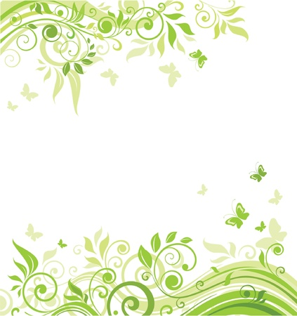 green butterfly: Spring green banner