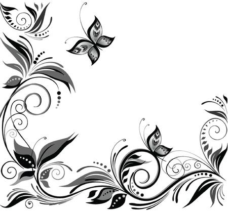 stencil flower: Wedding background  black and white