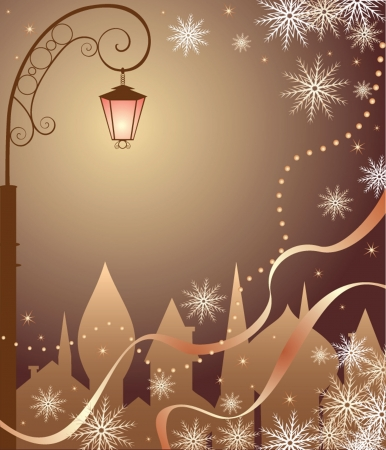 lampposts: Christmas town Illustration