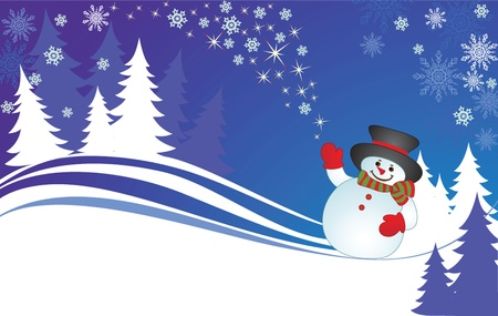 Xmas card with snowman Vector