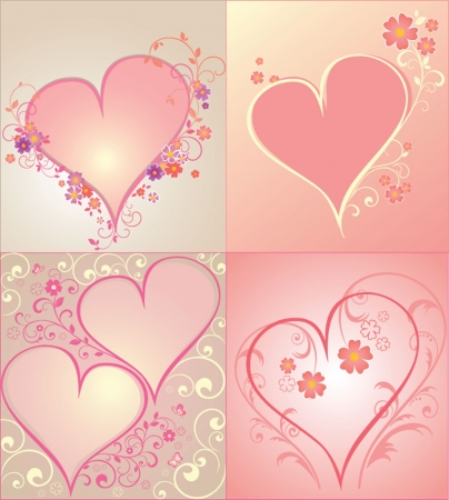 Set of hearts to the Valentine Vector