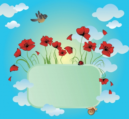 Frame with poppies Vector