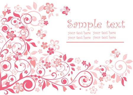 papillon rose: Carte de voeux mignonne