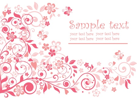 pink butterfly: Cute greeting card