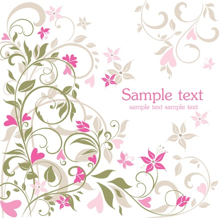 Greeting floral postcard Vector