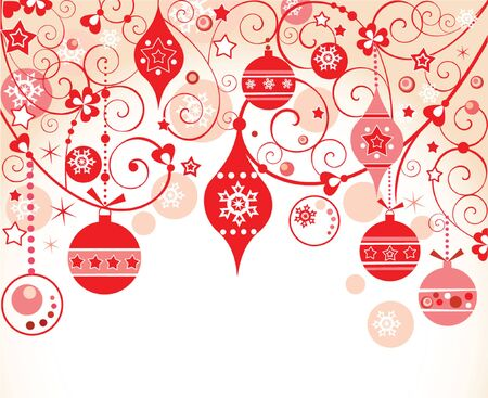 Red xmas card Stock Vector - 18972613