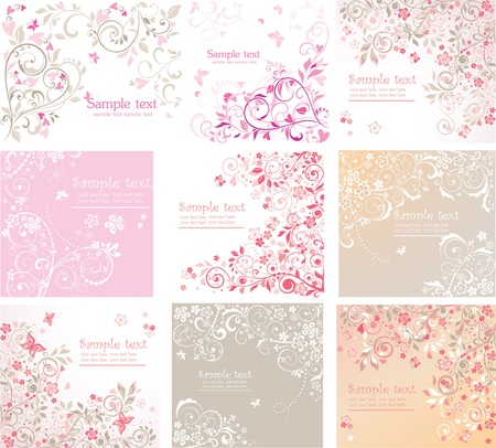 papillon rose: Cartes florales de cru Illustration