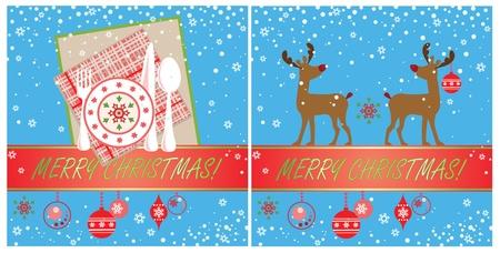 comida de navidad: Navidad tarjetas Vectores