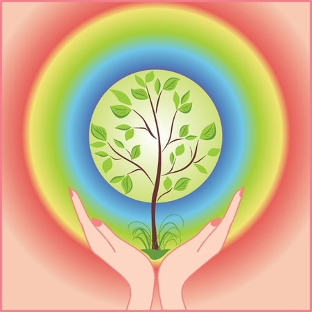 Tree in hands. See my gallery for more Stock Vector - 18972399
