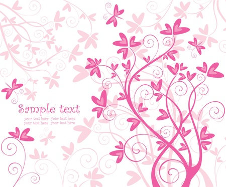 Beautiful floral pink card Vector
